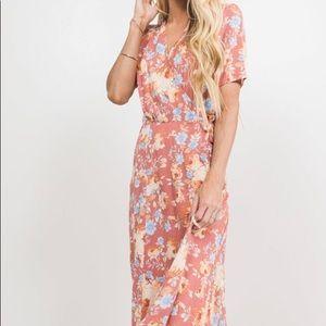 Shop Stevie floral maxi wrap dress